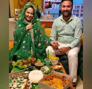بهاره رهنما و همسرش در کنار سفره افطار