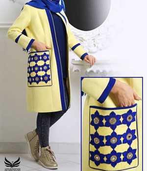 مدل مانتو با نوار آبي رنگ در جلو و جيب خاص