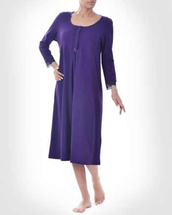 پيراهن زنانه ساده و بلند رنگ آبي با يقه باز