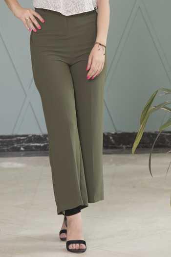 مدل شلوار زنانه بدون جيب بالا تنگ و دمپا گشاد
